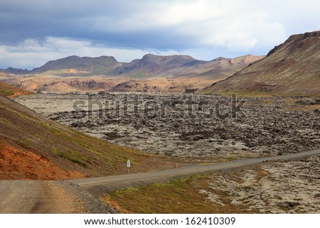 View volcanic field in Iceland