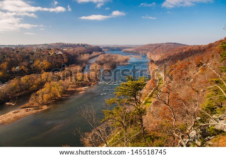 View west up the Potomac River from Maryland Heights, across the river from Harper's Ferry, West Virginia.