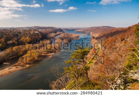 View west up the Potomac River from Maryland Heights, across the river from Harper's Ferry, West Virginia. - stock photo