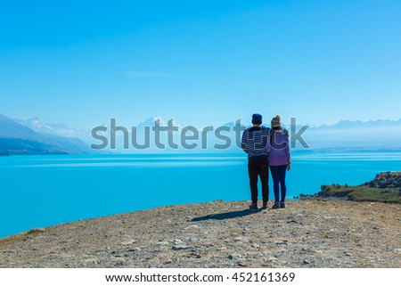 View with a Couples enjoy trip south island New Zealand