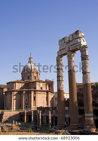 View with Forum Romanum in Rome, Italy - stock photo