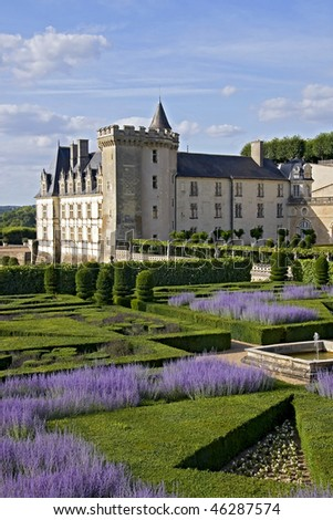 View with Lavender in park of Chateau de Valencay - stock photo