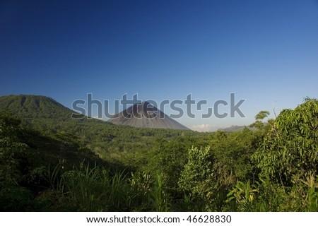 view with volcano, philippines - stock photo
