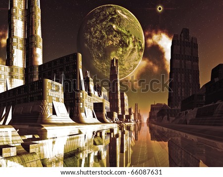 Viewed from one of the thousand canals  the futuristic water city is illuminated by golden light from the moon and cosmos above. - stock photo