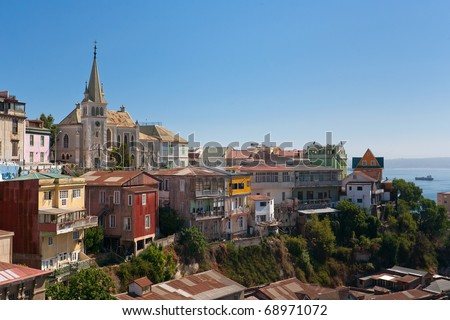 Viewed on Cerro Concepcion, Valparaiso historic World Heritage of UNESCO, with Pacific Ocean in background - stock photo