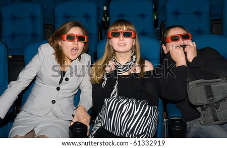 viewers with 3D glasses - three scared young women