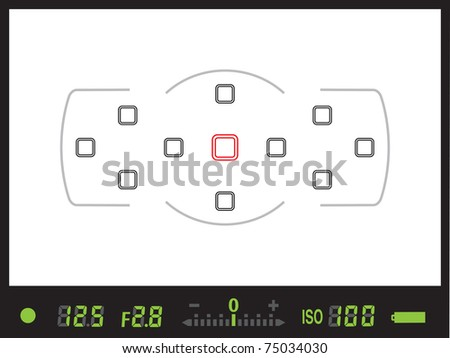 Viewfinder of digital single lens reflex / DSLR camera in JPG - stock photo