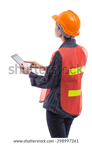 Viewing engineer women from ten tablets. - stock photo