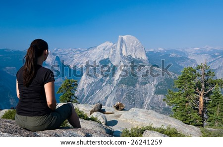 Viewing Half Dome from Glacier Point in Yosemite National Park, California - stock photo