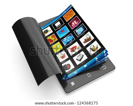 Viewing images on a mobile phone. Mobile phone images Leafs - stock photo