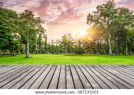 viewing platform and park at sunset - stock photo