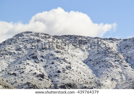 Viewing the Desert Landscape, Nevada snowy sierra  mountains - stock photo