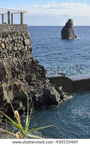 Viewpoint and clifftop rocks at Lido near Funchal in Madeira, Portugal
