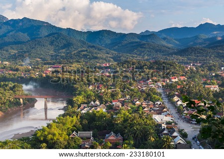 Viewpoint and landscape in luang prabang, Laos. - stock photo