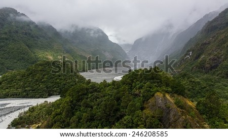 Viewpoint at the declining franz josef glacier in new zealand - stock photo