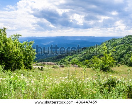 viewpoint in Bulgarian Strandzha mountain, Bulgaria - stock photo