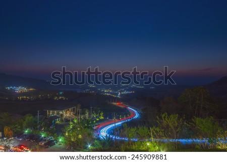 Viewpoint in the night at Khaokho, Phetchabun ,Thailand - stock photo