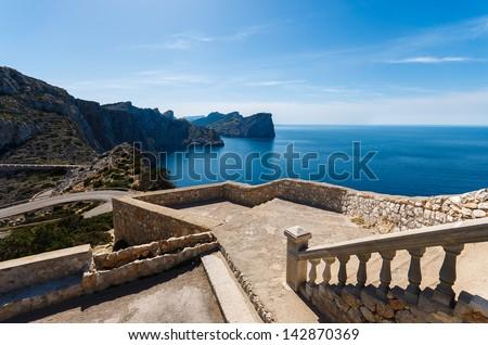 Viewpoint lighthouse terrace stairs sunny day blue sea, Cap de Formentor, Majorca island - stock photo