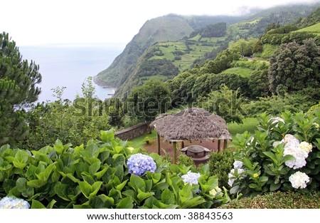 Viewpoint Miradouro da Madrugada at Sao Miguel (Azores) - stock photo