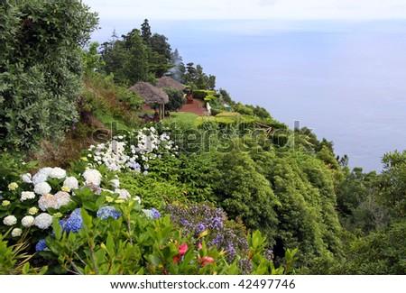 """Viewpoint """"Miradouro da madrugada"""" at Sao Miguel (Azores) - stock photo"""