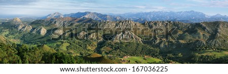 Viewpoint of Fito, view of the Picos de Europa. Asturias, Spain.