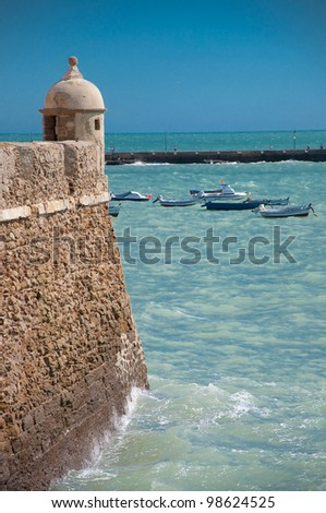 Viewpoint of the Caleta in Cadiz - stock photo