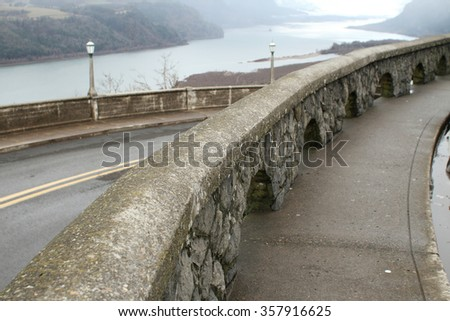 Viewpoint of the Columbia River from the Oregon side. - stock photo
