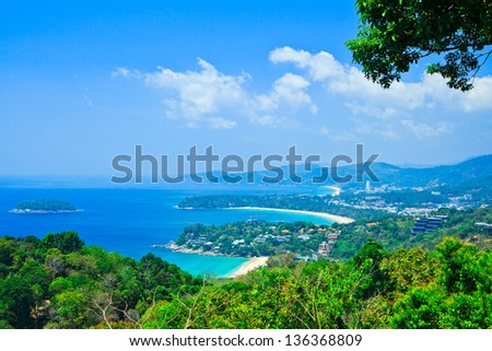Viewpoint phuket bay city thailand - stock photo