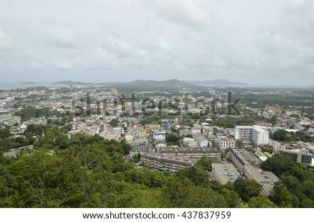 Viewpoint Phuket Town at Rang Hill Phuket International Airport - stock photo