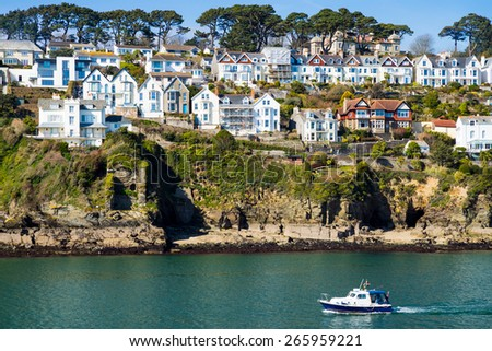Views across the river to Fowey from Polruan Block House Cornwall England UK Europe - stock photo