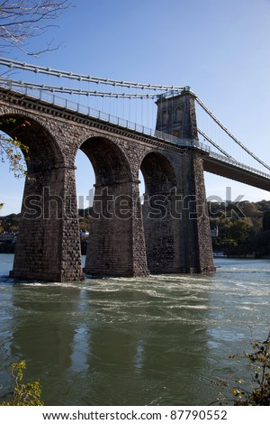 Views along the Menai Straits from the Isle of Anglesey North Wales - stock photo