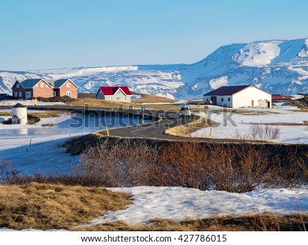 Views around Myvatn lake Iceland, Northern Europe in winter with snow and ice