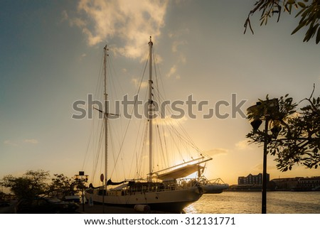 Views around Punda at sunset Curacao a Caribbean island in the Dutch Antilles - stock photo