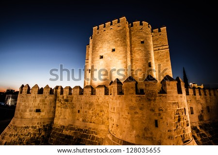 Views Calahorra Tower, the Roman bridge and the mosque in Cordoba (Spain), monuments named World Heritage by UNESCO. - stock photo