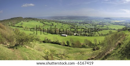 Views from Crickley Hill Country park near Gloucester and Cheltenham site of Neolithic Iron Age Hillfort Gloucestershire The Midlands England