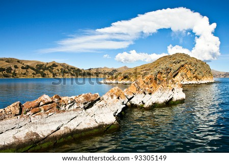 Views from Isla del Sol on the Titicaca lake in Bolivia - stock photo