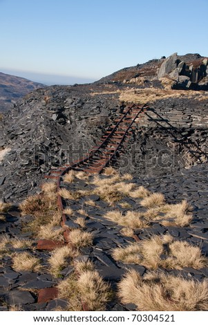 Views from the long closed Dinorwig slate  Quarry full of old ruined buildings Llanberis North wales