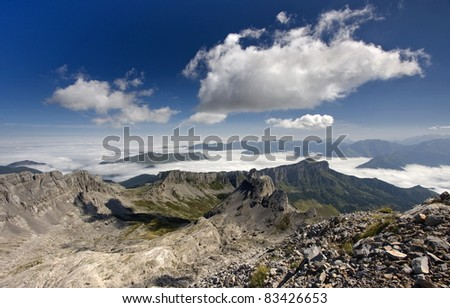 Views from the top of Anie, France. - stock photo