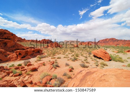 Views from the Valley Of Fire near Las Vegas, Nevada / Red and Blue - stock photo