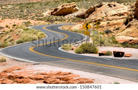 Views from the Valley Of Fire near Las Vegas, Nevada / Winding Road - stock photo