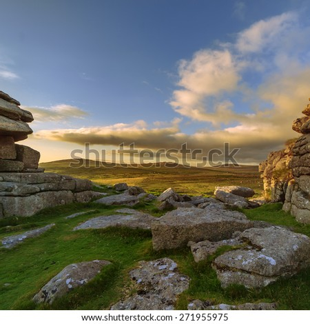 Views looking South over Pew Tor on Dartmoor National Park, Devon, England, UK - stock photo