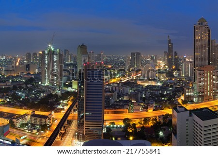 Views of Bangkok Residential district with expressway During morning twilight - stock photo