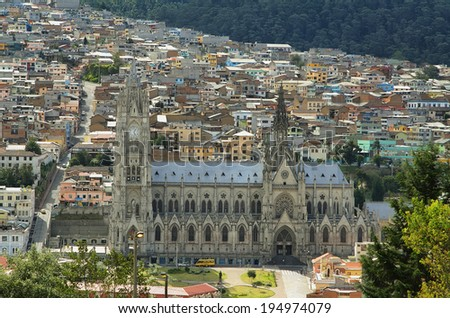 Views of Basi�­lica del voto nacional in downtown Quito from Itchimbia, Ecuador - stock photo
