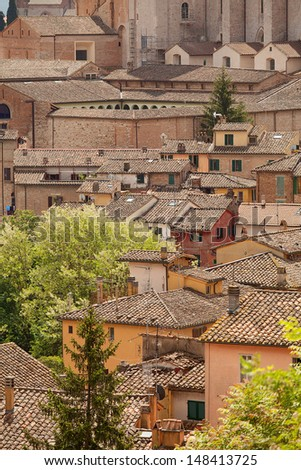 Views of buildings and rooftops of the old township of Perugia in the Umbrian region of Italy