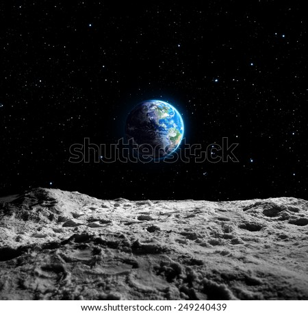 Views of Earth from the moon surface - Usa map furnished by NASA - stock photo