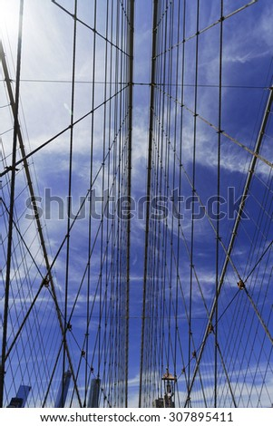Views of historic Brooklyn Bridge in New York City. - stock photo