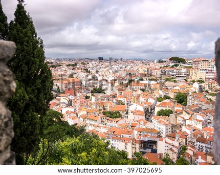 Views of Lisbon from the Sa Jorge castle - stock photo
