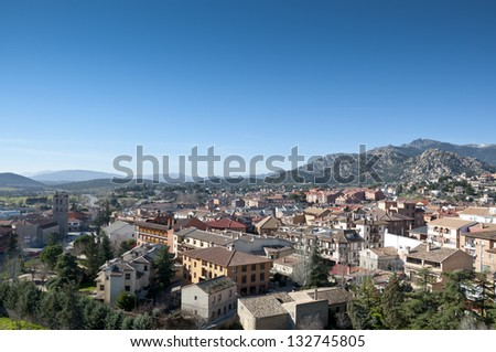 Views of Manzanares el Real, Madrid Province, Spain. It is located at the foot of The Pedriza, a part of the Sierra de Guadarrama. - stock photo