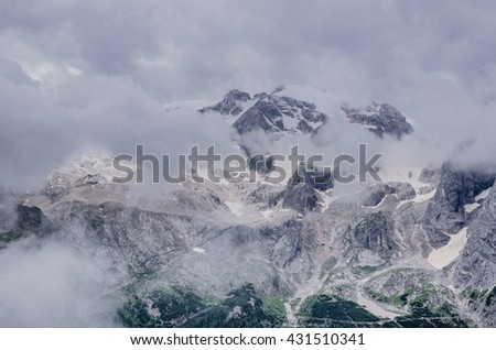 Views of Marmolada mountain range, Gran Vernel and Colac mountain summits as taken on the trekking trail to Viel del Pan refuge, Dolomites, South Tyrol, Italy