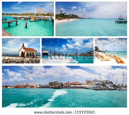 Views of Palm Beach, Oranjestad and the Chapel, Aruba - stock photo